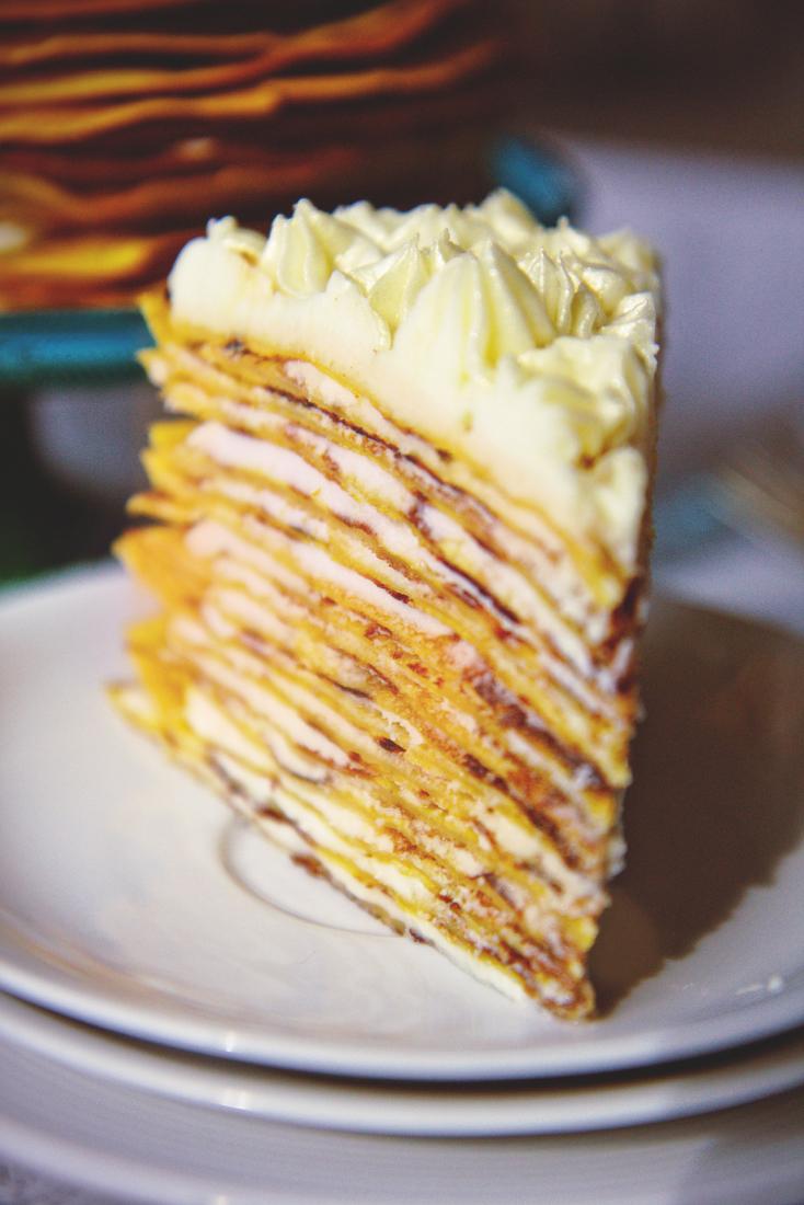 Pumpkin Cream Cheese Crepe Cake | La Pêche Fraîche