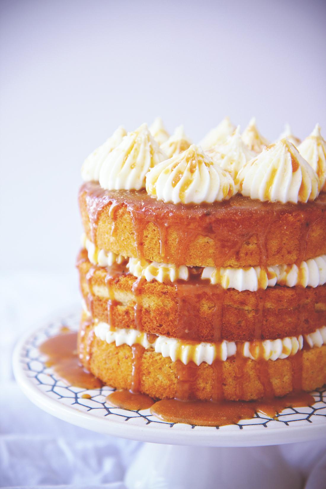 Cream Cheese and Salted Caramel Cake   La Pêche Fraîche
