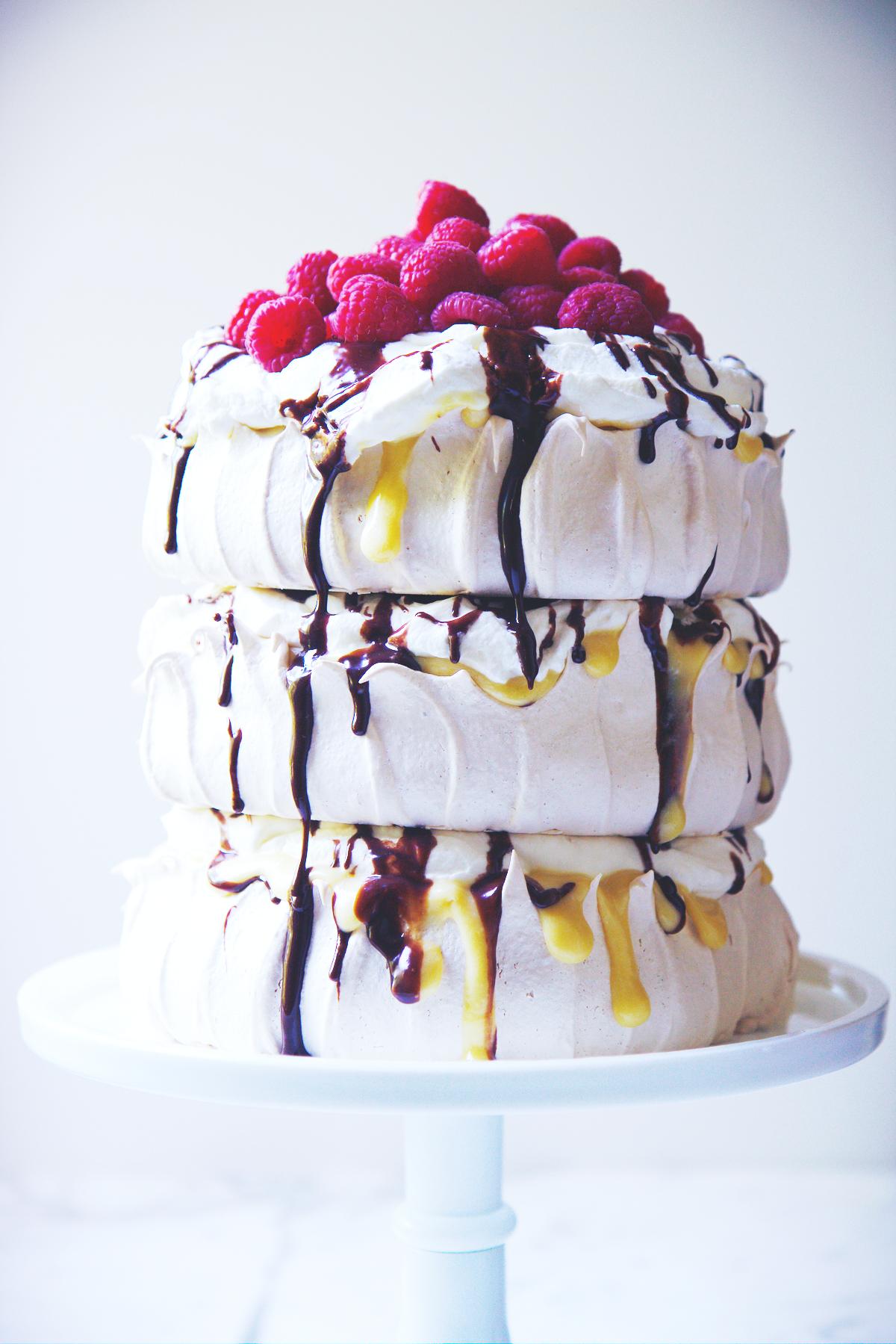 Passionfruit, Raspberry, and Chocolate Pavlova | La Pêche Fraîche