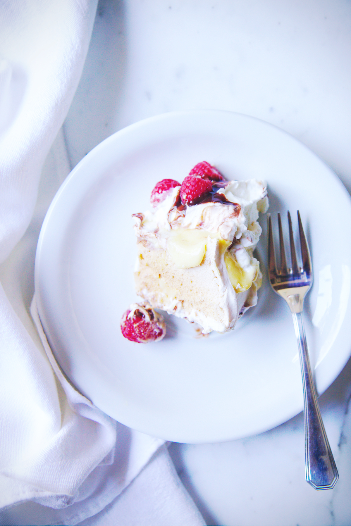 Passionfruit, Raspberry, and Chocolate Pavlova | La Pêche Fraîche