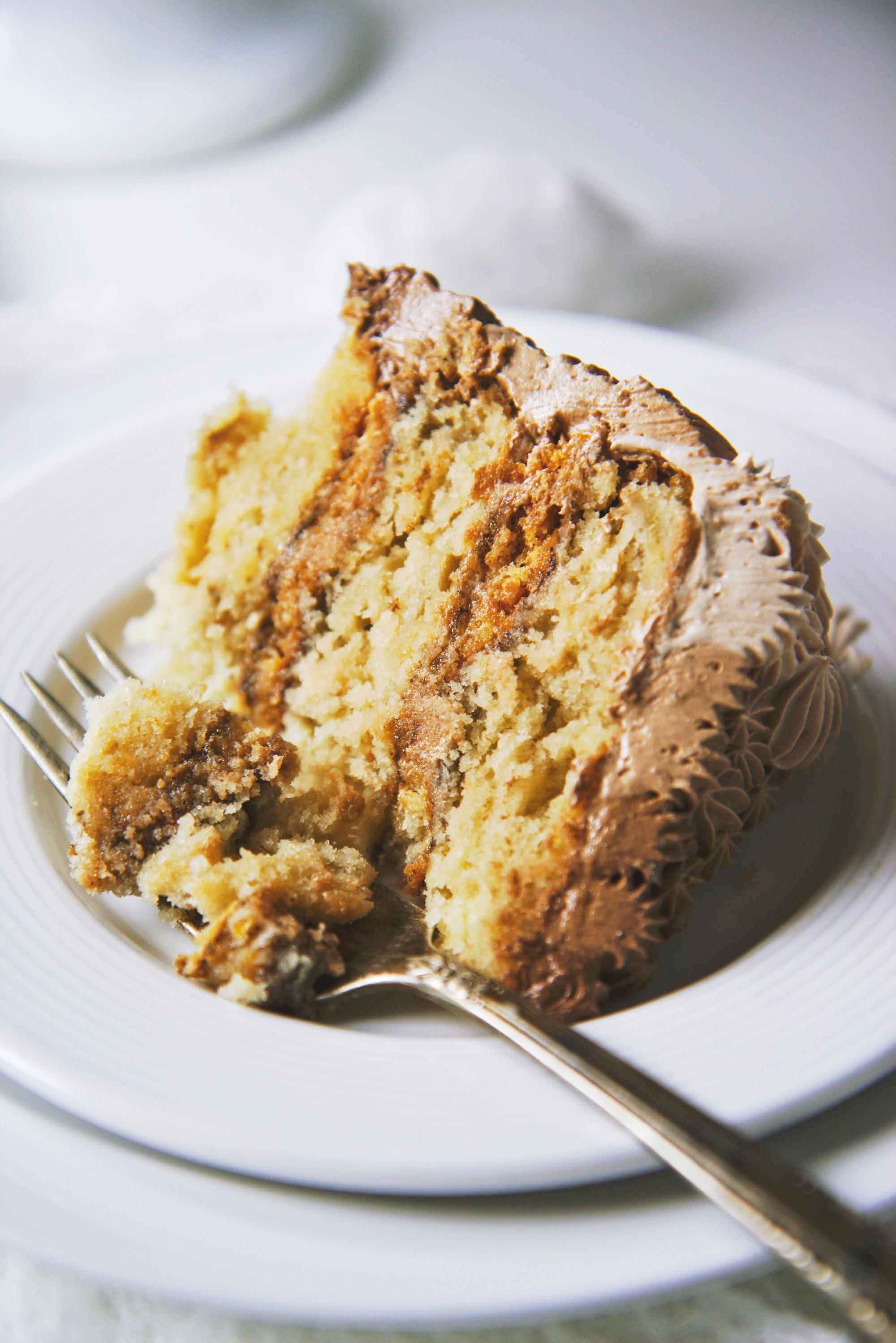 Banana, Almond, Coffee, and Chocolate Cake   La Pêche Fraîche
